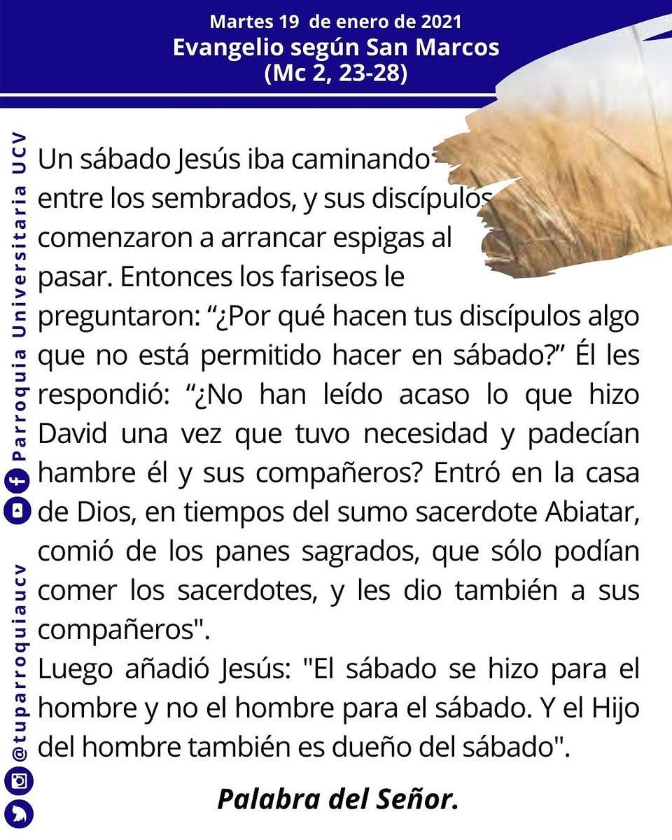 #EvangelioDeHoy #EvangelioDelDía #19Ene #TuParroquiaUCV #Jesuitasdevenezuela #EnTodoAmaryServir