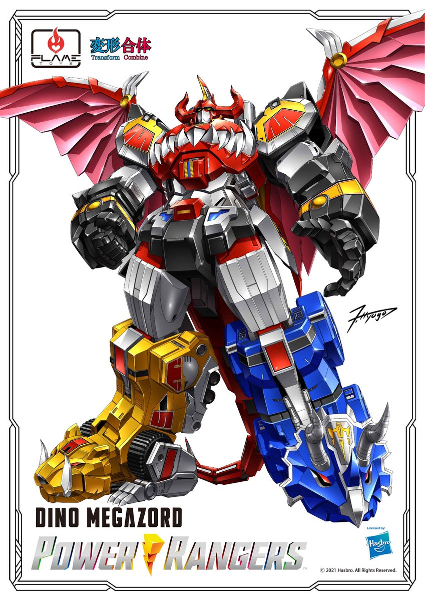 \\ New item information ⑦!! //  Today is the announcement from the new brand!  The concept of the new brand is  『Transform & Combine』!  The new brand name and the first one ... 『[合機巧 -Go! Kara Kuri Combine-] Dino Megazord』🦖🦕 !!  #FLAMETOYS #合機巧 #PowerRangers