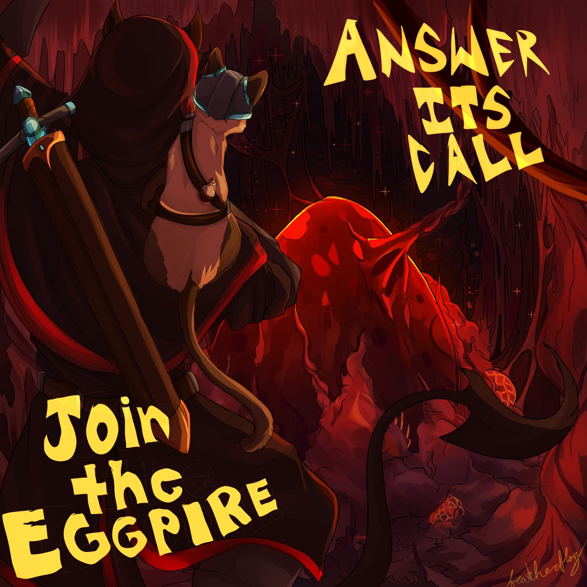 Replying to @featherzArt: Here's a version with a slogan! #eggpire