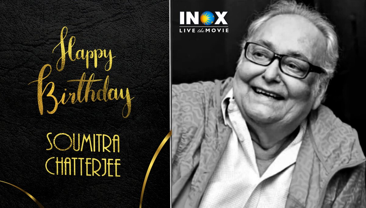 Remembering the legendary actor #SoumitraChatterjee on his Birth Anniversary. This genius actor has been a recipient of multiple awards & global recognition and has worked with ace director #SatyajitRay in 14 films!  #HappyBirthdaySoumitraChatterjee #INOX #INOXremembers