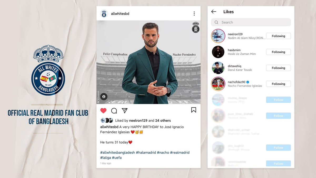 📣📣 Nacho Fernández Iglesias reacted to our post in instagram! It's really an honor to be able to reach out to one of the most loyal soldiers of our beloved club. Maybe it's a little thing but things like these keep us going! 😁😁😁  #halamadrid  #allwhitesbangladesh