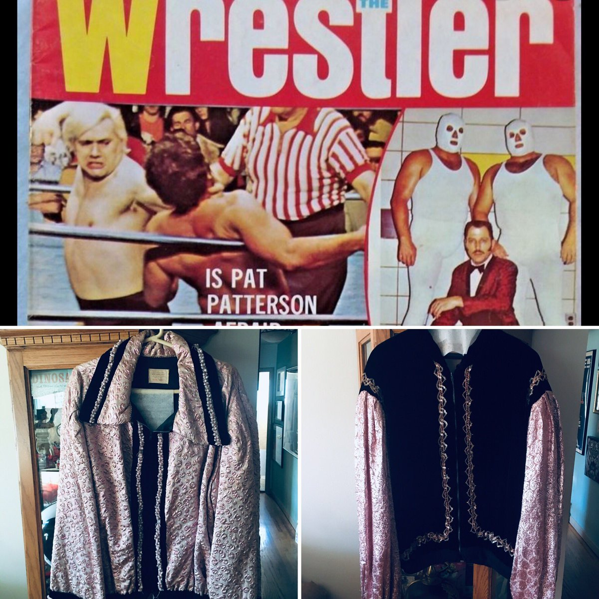 Remembering pro wrestling legend &  HOF member Pat Patterson & 2 of his ring worn jackets. For info on my dad's old school pro wrestling photos book When I Shot Good & Bad Guys who wrestled @ the Cow Palace send me a pm #PatPatterson #cowpalace #royshire #raystevens #rockyjohnson