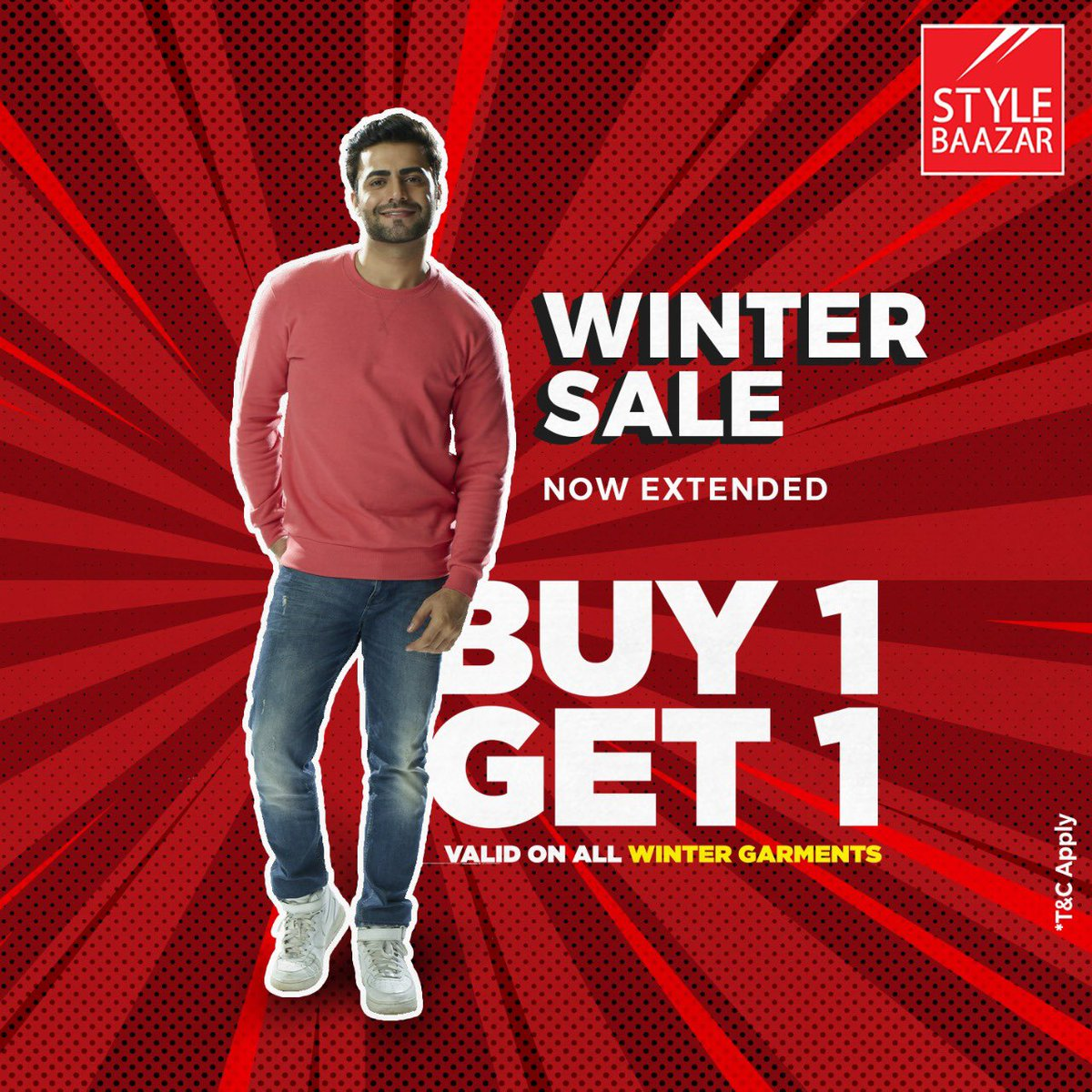 Shop the sale only at Style Baazar! Don't miss our Buy 1 Get 1 Free offer on all Winter Garments across all stores.  #StyleBaazar #Style #Sale #WinterSale #BiggestWinterSale #BOGO #Buy1Get1 #GrabNow #Shopping #Fashion #WinterShopping #Fun #Love #StayInStyle #Celebration