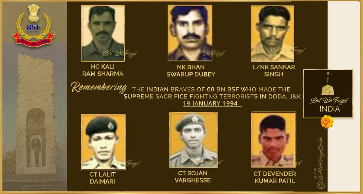 TWENTY SEVEN years ago they laid down their lives for the Nation   #LestWeForgetIndia🇮🇳 the SIX gallant #IndianBraves of 68 BN @BSF_India who made the supreme sacrifice fighting terrorists at Doda, J&K #OnThisDay 19 January in 1994  Remember the gallant Seema Prahris 🏵️