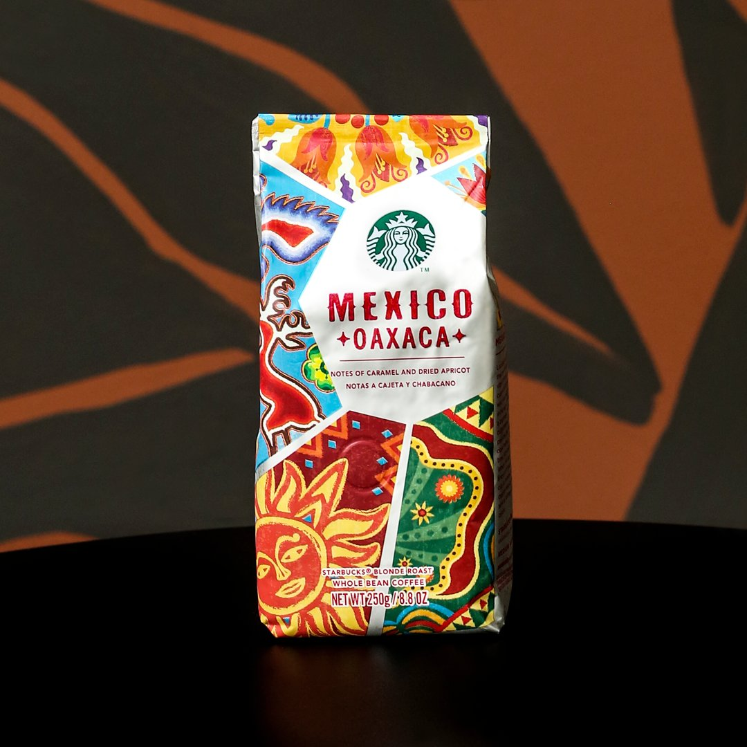 Expect striking flavors of bright lemon, dried apricot, sweet caramel and a hint of dark chocolate, when you're sipping into a cup of our #MexicoOaxaca.  Mexico Oaxaca Bean is available at your neighborhood Starbucks store. 😉  #MexicoOaxaca #StarbucksBeans https://t.co/WMNgqq18cn
