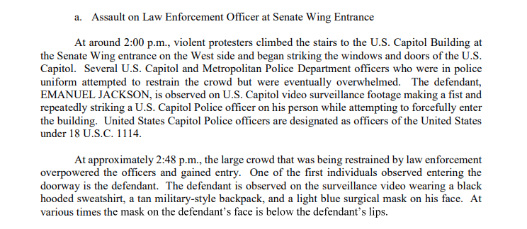 JUST IN: The latest suspect in the Capitol riots was admitted assaulting police at least twice — two hours apart — once by throwing punches and later with a baseball bat.  Emanuel Jackson turned himself in to DC police today. https://t.co/vCvxyTY6Mb