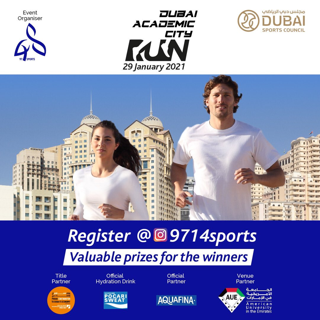 "In cooperation with the Dubai Sports Council, ""9714 sports"" company is organizing the Dubai Academic City Run🏃🏼‍♂️🏃🏾‍♀️, on Friday January 29🗓, in Dubai Academic City📍, within distances of 10 km, 5 km, and 2.5 km. For registration, please visit the link in the bio🔗"