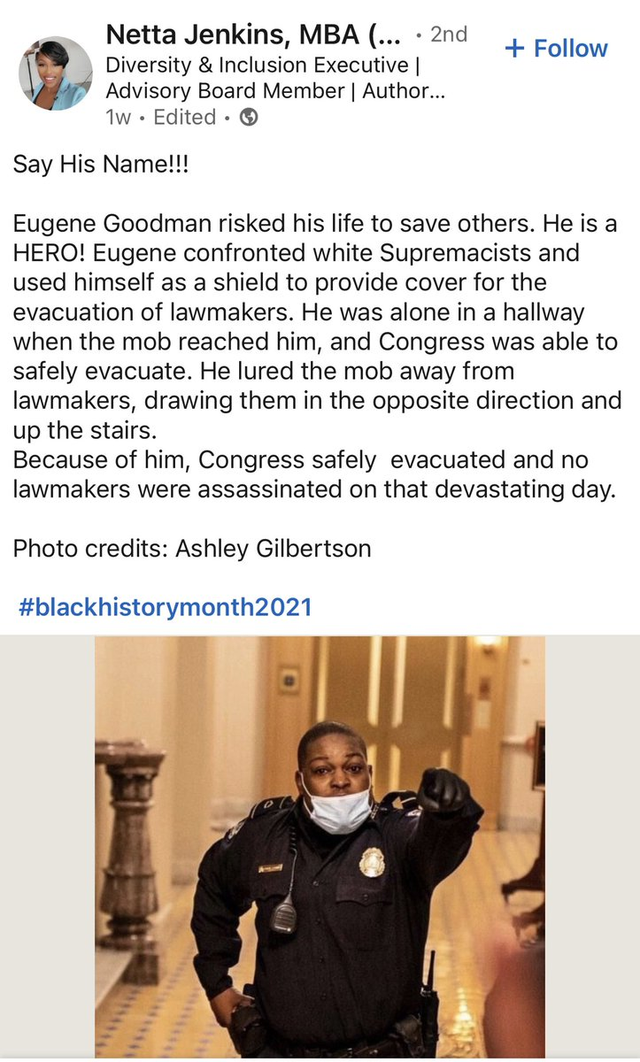 """Eugene Goodman risked his life to save others. He is a HERO! Eugene confronted white Supremacists and used himself as a shield to provide cover for the evacuation of lawmakers. He was alone in a hallway when the mob reached him, and Congress was able to safely evacuate..."" https://t.co/I2496qx0Qu"