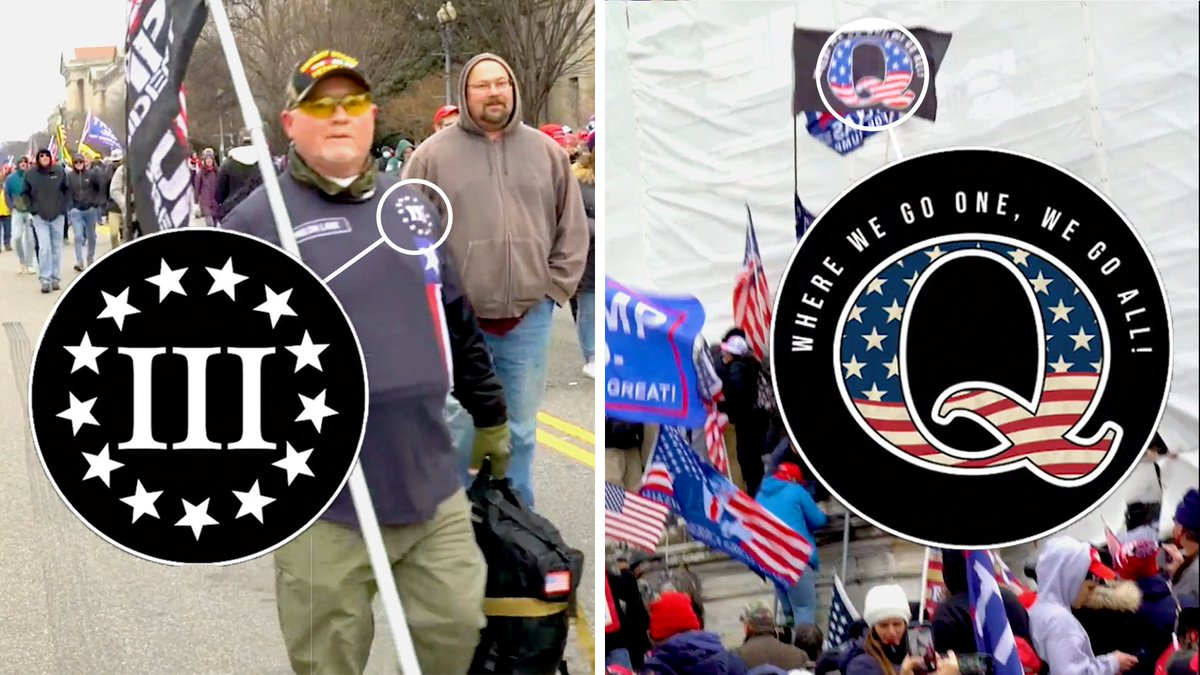 We looked through hours of footage from the Capitol riot to decode the symbols that Trump supporters brought with them, revealing some ongoing threats to US democracy. 👇