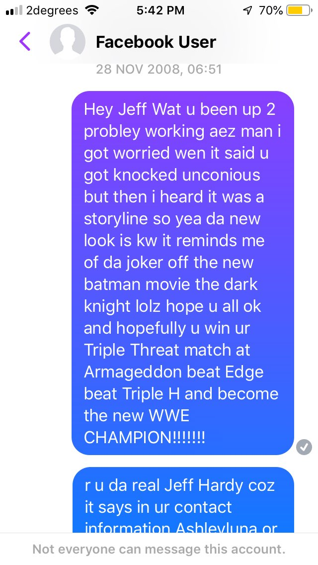 Here's a message I sent a fake @JEFFHARDYBRAND account in 2008 such a gullible kid 😂😂😂 #WWERaw