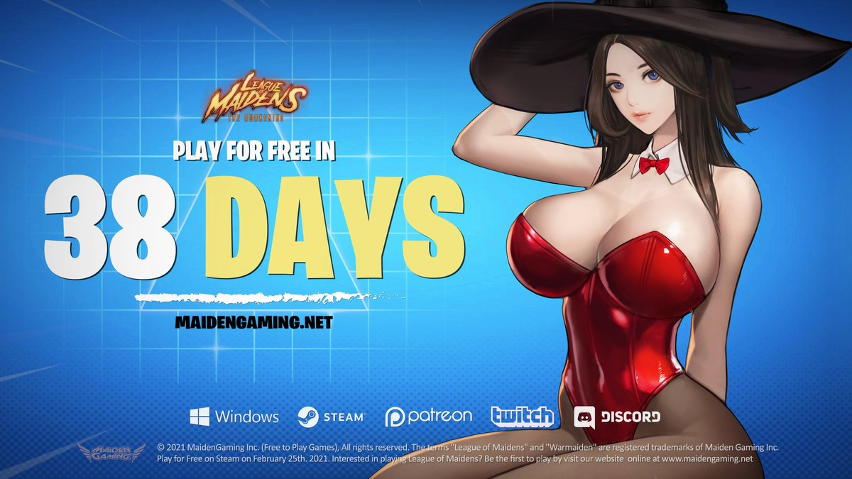 PLEASE RETWEET & LIKE! PLAY FREE IN 38 DAYS!!! #leagueofmaidens #maidengaming #nsfwgaming #freetoplay #freegame #videogame #waifu #steamgame #lewdgaming #lewdgame #lewdgames #adultgaming  WISHLIST NOW ON STEAM: