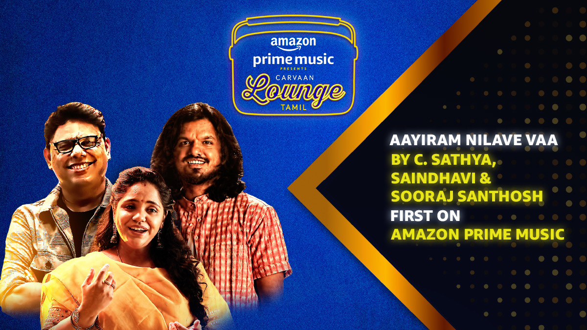 Reflect on retro romance listening to @CSathyaOfficial, @singersaindhavi & @soorajslive's modern-day rendition of the iconic #AayiramNilaveVaa, #FirstOn @AmazonMusicIN 🎵  🎧   #CarvaanLoungeTamil #CarvaanLoungeOnAmazonMusic