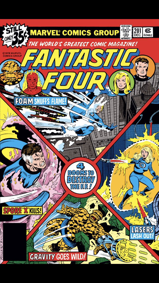 #comicbeforebed Fantastic Four No. 201, December, 1978. Johnny burns Sue's dress, a cross-section of the Baxter Building, and Reed's study turns deadly. 🔥🏢😱 #FantasticFour #MarvelComics #MarvelUnlimited #digitalcomics @marvel @MarvelUnlimited