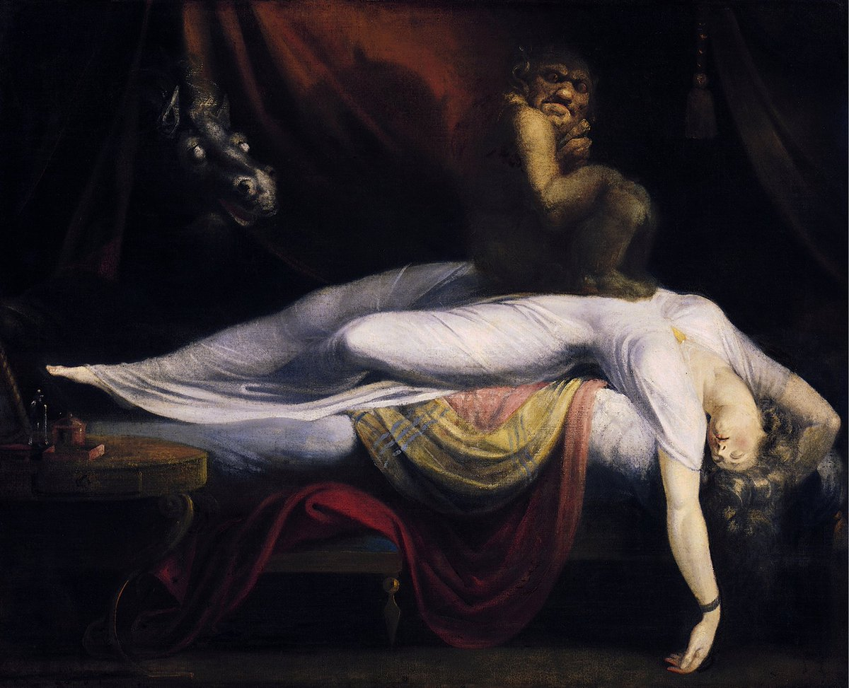 This looks more like a sleep paralysis situation than an exorcism one, to me... ╮(^▽^)╭ Seriously, it looks so much like the old Romantic Period paintings.  Sorry, #art & folklore/mythology/etc. nerd moment... 😝🤓  #ArtHistory #Folklore #Mythology #AutisticEmporium