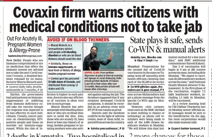 Covaxin was approved w/o phase 3 trials, despite experts cautioning against such hasty approval. Now Vaccine maker says that those who are not healthy should not take it. Healthy people are hardly affected by Covid. Whats the use of the vaccine then? Only to make big bucks?