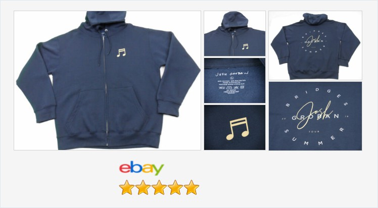Josh Groban Bridges Summer Tour 2019 Full Zip Hoodie Jacket Large L Navy Blue #JoshGroban #Bridges   (Tweeted via )