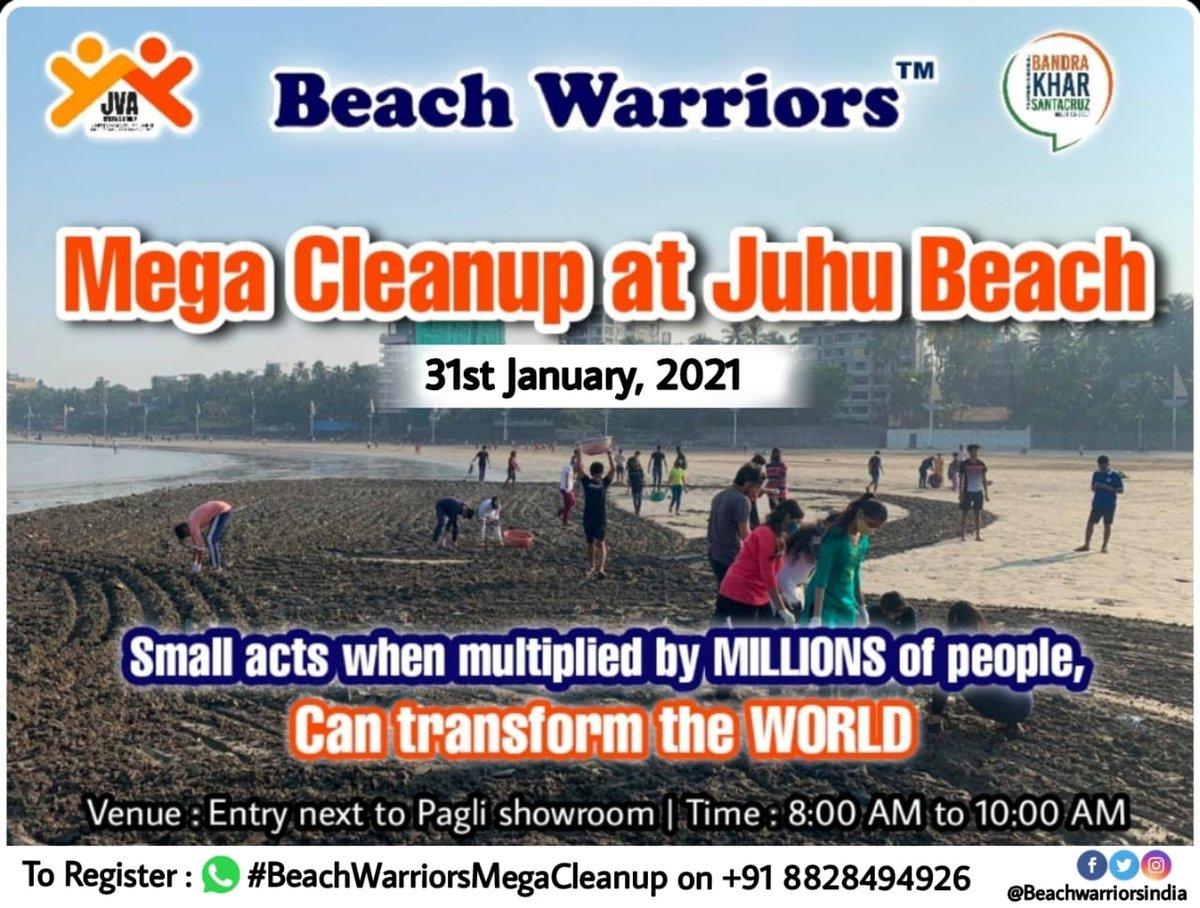 Clean-up on its Way ! #Week158  Join @beachwarriors @JvaJuhu @BKScitizengroup team on 31st January 2021 at Juhu Koliwada Beach.  Let's come together & support #MajhiVasundhara   Registration compulsory on @beachwarriors App :  @AUThackeray @priyankac19