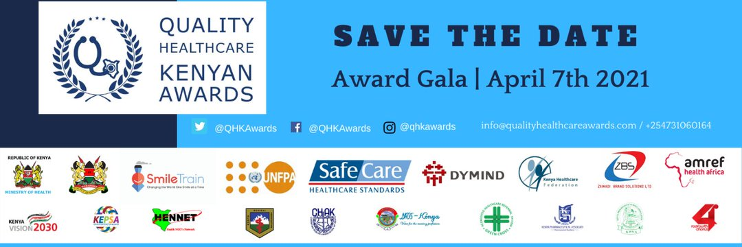 #QHKAwards will be honoring excellence, celebrating innovation & positive contributions by individuals & organizations in the Kenyan health sector for quality people-centred care on the #worldhealthday 7th April 2021. Save the Date & join us in applauding our Heroes!