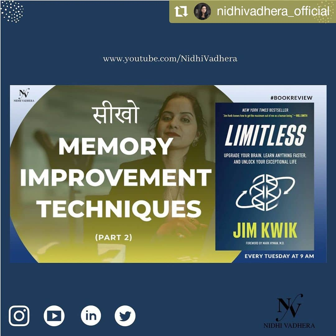 Watch Nidhi Vadhera, a leading sales coach and a business consultant talk about @jimkwik's book Limitless and memory improvement techniques in her Youtube video. ✨  @NidhiV_Official @jimkwik  Watch :   #hayhouseindia #jimkwik #limitless #nidhivadhera