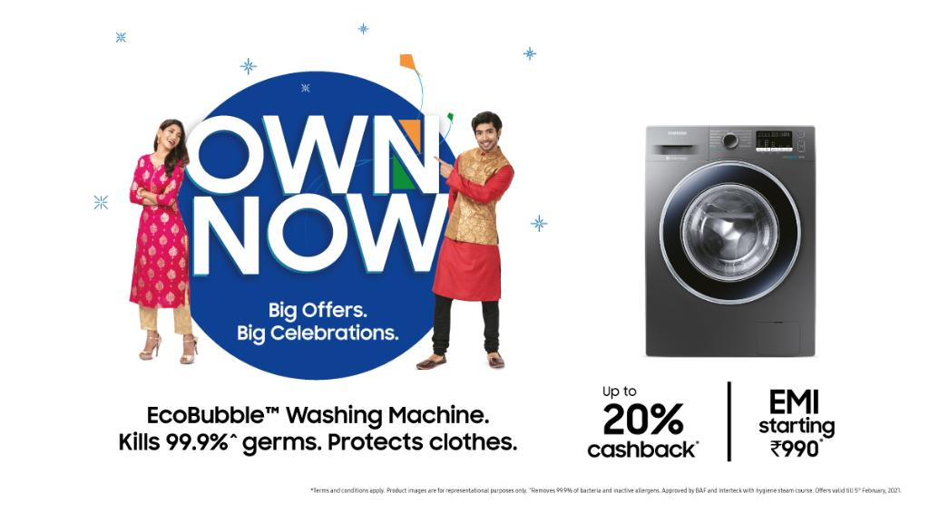 Begin the new year on a healthy note! Switch to a Samsung Front Load washing machine and make sure your clothes are not just clean, but also 99.9% germ-free. Own now and get amazing offers. Like, up to 20% cashback and EMIs starting at ₹990. T&C apply.