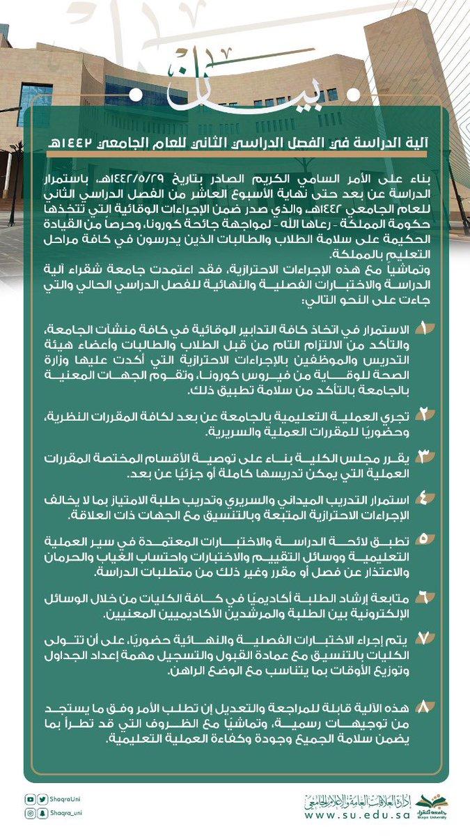 @ShaqraUni  #جامعة_شقراء  تعلن آلية الدراسة للفصل الدراسي الثاني من العام الجامعي 1442هـ. https://t.co/Jyje4aHbYI