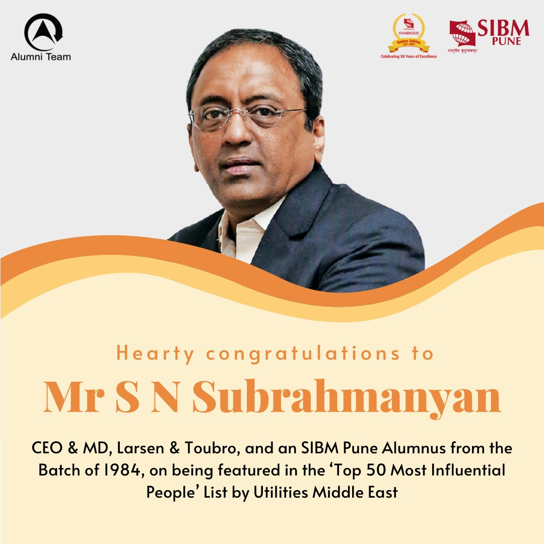 The Alumni Team is delighted to share that Mr. S. N. Subrahmanyan, CEO & MD at Larsen & Toubro and @SIBMPune #Alumnus from the Batch of 1984, has been featured in the 'Top 50 Most Influential People' List by Utilities Middle East.  #SIBMPune #SIBMPuneAlumni #SIBMPuneAlumniTeam https://t.co/WAWpUVkDqD