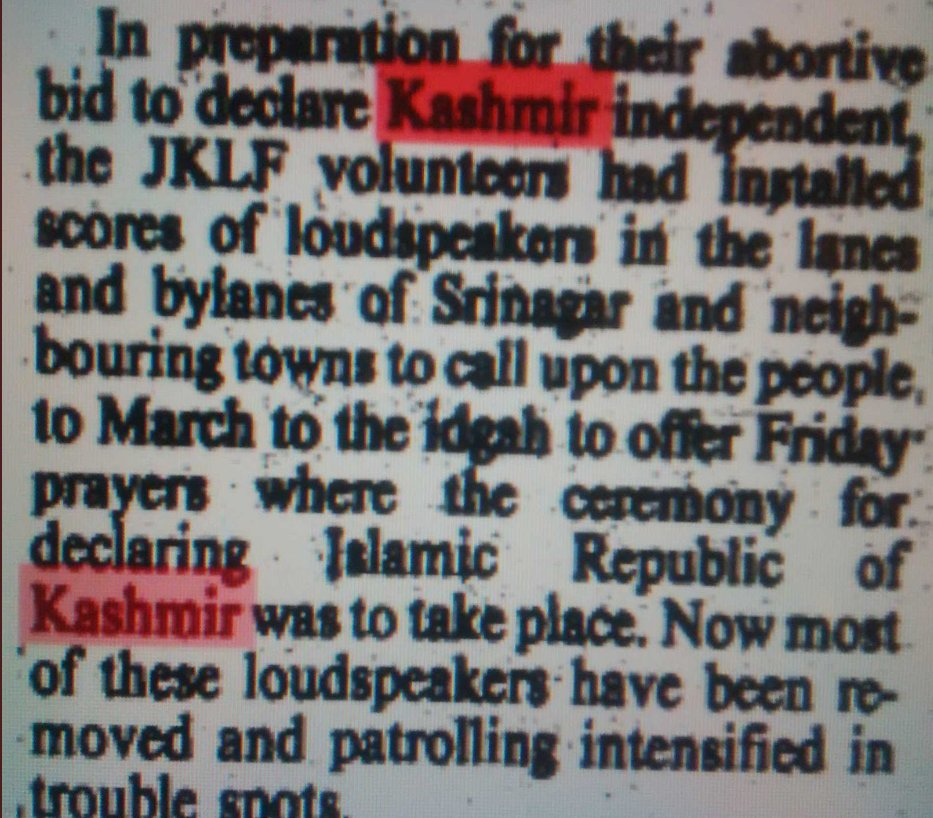 This Genocide and ethnic cleansing of #KashmiriHindus  in 1990 was an attempt by Jihadis to create Islamic Kashmir which can be easily raised against India, finally to join Pakistan. Mosques and Urdu papers were blazing with Hate speech against Hindus. 4/n