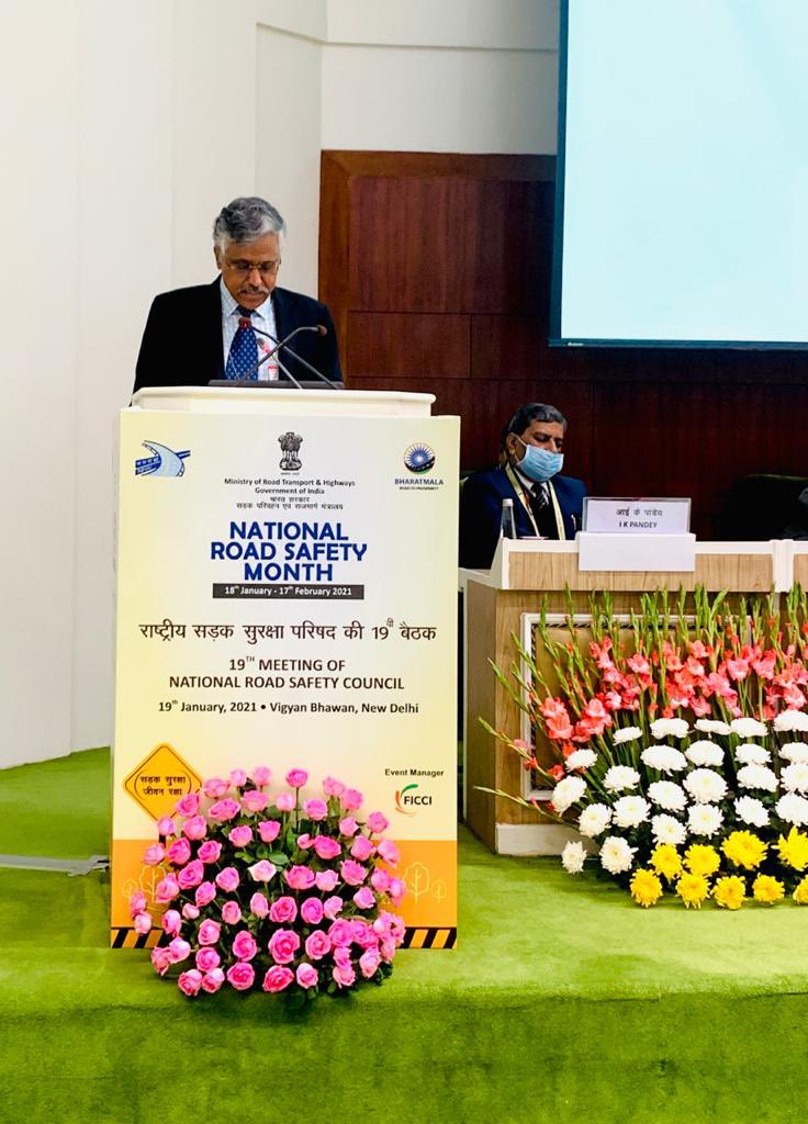 Secretary MoRT&H Shri Giridhar Aramane delivering speech at the meeting of National Road Safety Council at Vigyan Bhavan, New Delhi.