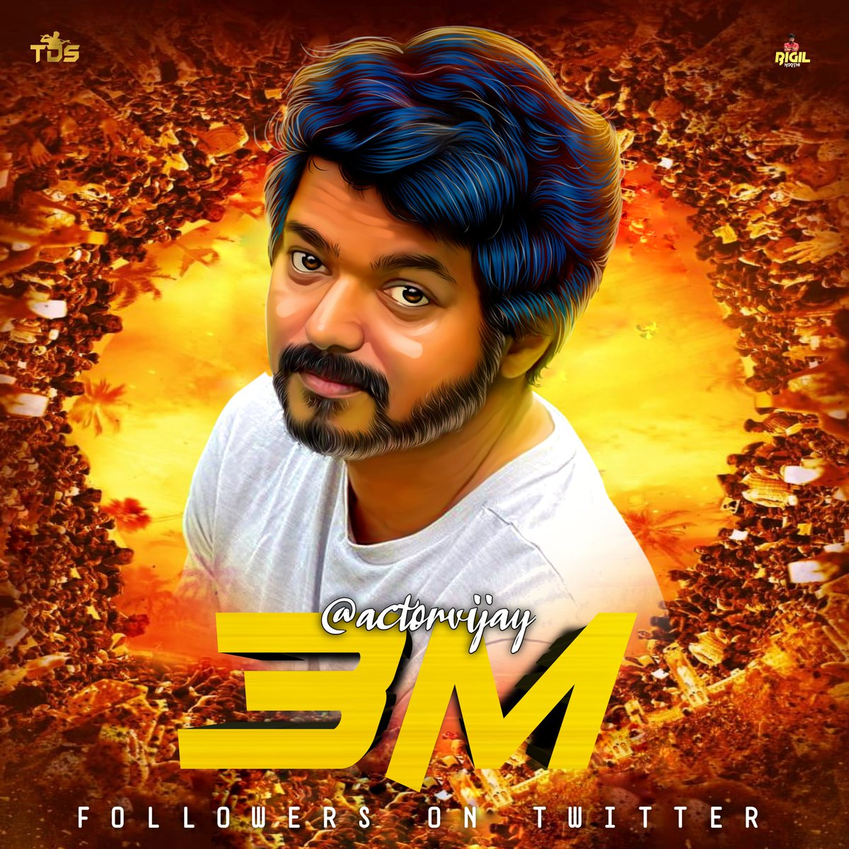3M+ followers on Twitter 💥🤩 @actorvijay 😎💪  Designed By @Itz_KarthiVfc6  #MasterFilm #Master  #TeamThalapathyBloods  #3MFollowersforThalapathyVIJAY