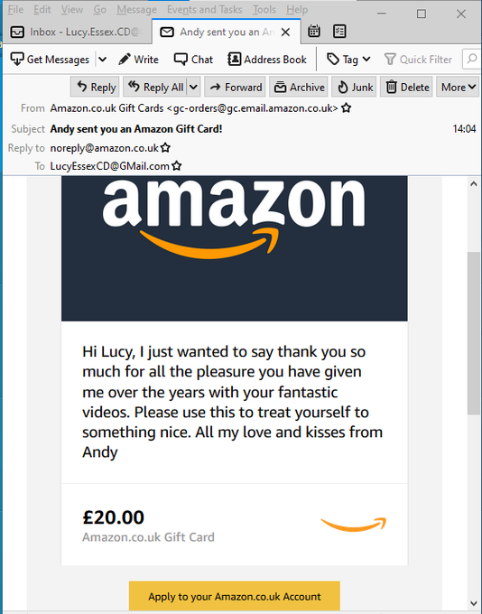 Oh WoW, I am such a lucky girl. I just received an amazon E-Gift voucher from a fabulous fan. Thank you