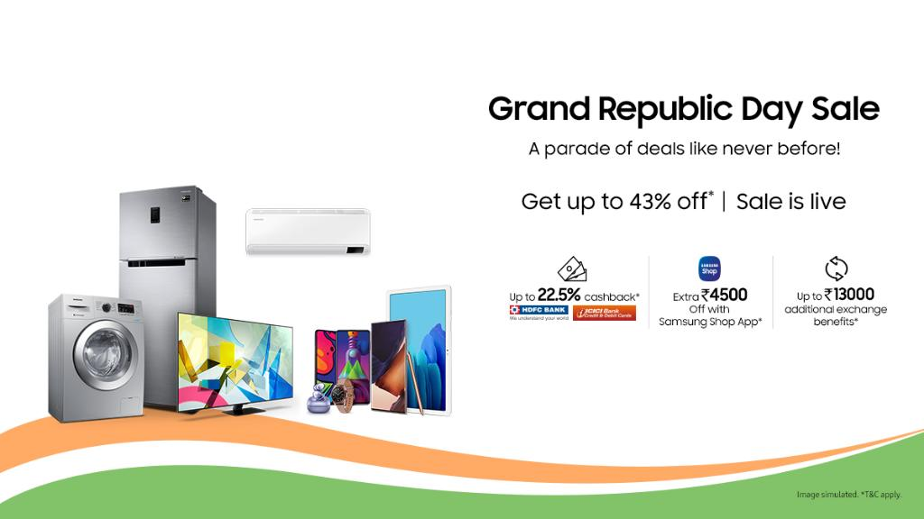 This Republic Day, celebrate with offers like never before. Get up to 43% discount on your favourite Samsung products during the Grand Republic Day Sale. You can also get exchange benefits, cashback and a lot more. T&C apply.  #Samsung