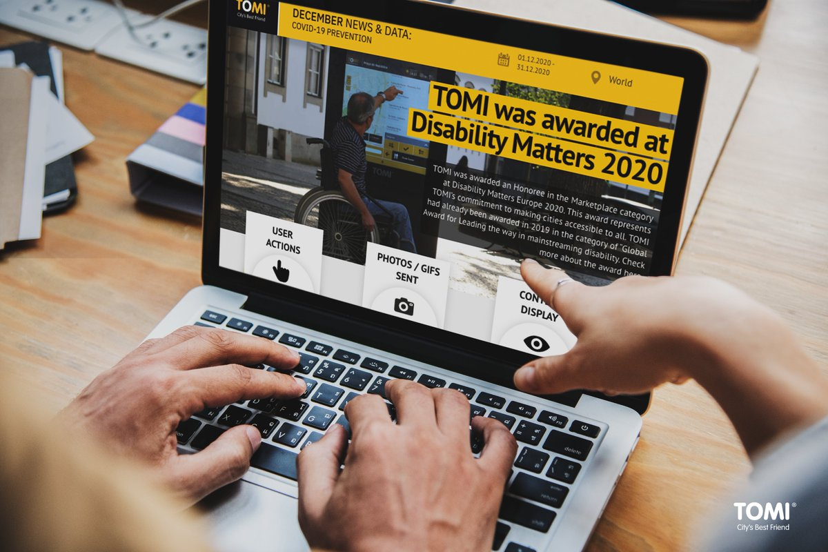 December's report highlights the award received by TOMI in the Marketplace Category given by Disability Matters Europe 2020. This award represents the recognition of TOMI's commitment to making cities and information accessible to all.  #TOMI #TOMIWorld #SmartCities #Report
