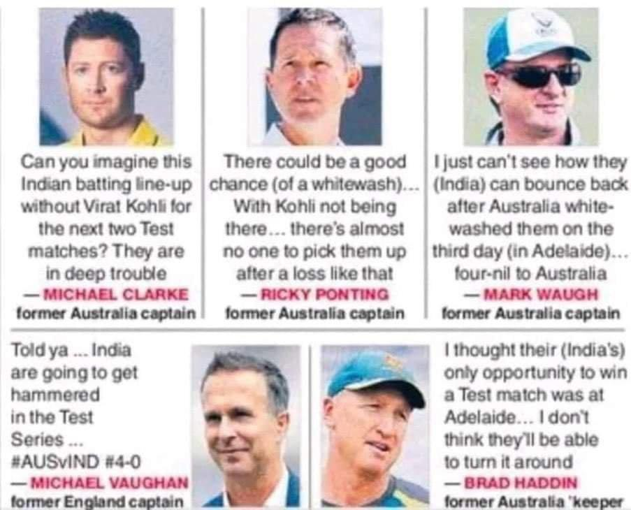 Meet some Astrologers who predicted the destiny of #BorderGavaskarTrophy 😂😂  From 36 all out to breaking the fort walls of Gabba !!   History got re-written!! #INDvsAUS @MichaelVaughan @RickyPonting @MClarke23 @juniorwaugh349