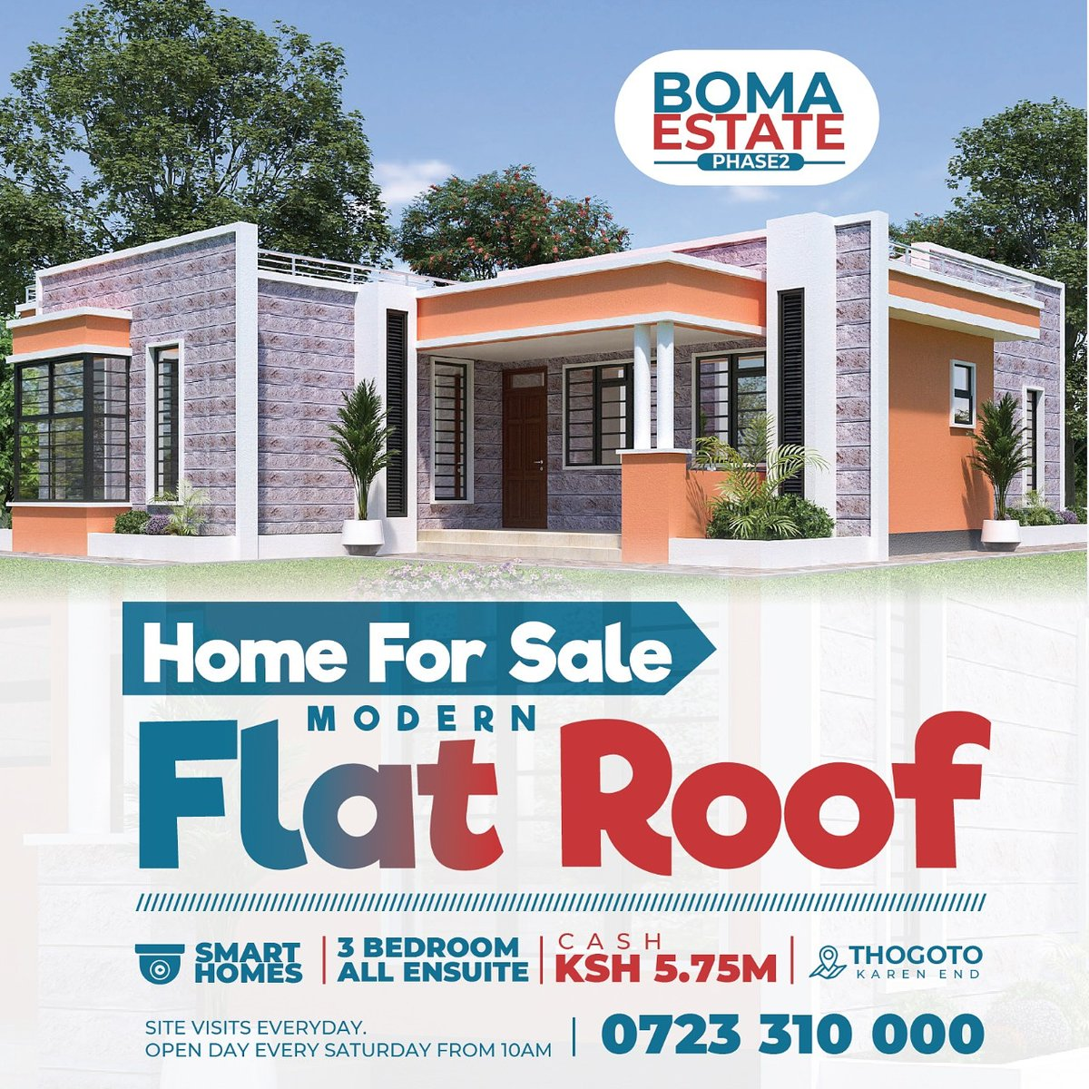 Home ownership provides a stable place to live! Be part of this master development in Thogoto, Karen End, Kikuyu area. own this 3 bedroom flat roof bungalow at Kes. 5.75M cash price. Installments option available too. Call 0723 310 000  #housesforsaleinkenya  #tuesdaymotivations