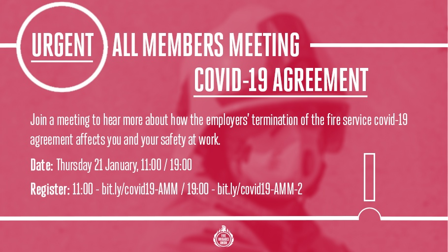 🚨 ALL MEMBERS MEETING 🚨 Join a meeting on Thursday to find out more about how the employers termination of the covid-19 agreement affects you. ✍️Register for 11:00: lght.ly/ljm528h ✍️Register for 19:00: lght.ly/4njc5o6 📺Tune in on FB: lght.ly/a1h09d