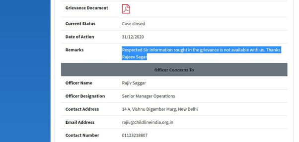 Here is Child line India Foundation @CHILDLINE1098 @MinistryWCD's Sr Manager Ops Mr Rajiv Sagar's reply to #LRO complaint on the issue! Such a shameless creatures these are! #NidhiWentToHarvard #NidhiRazdan #Nidhified #NDTVTopStories #NDTVExclusive