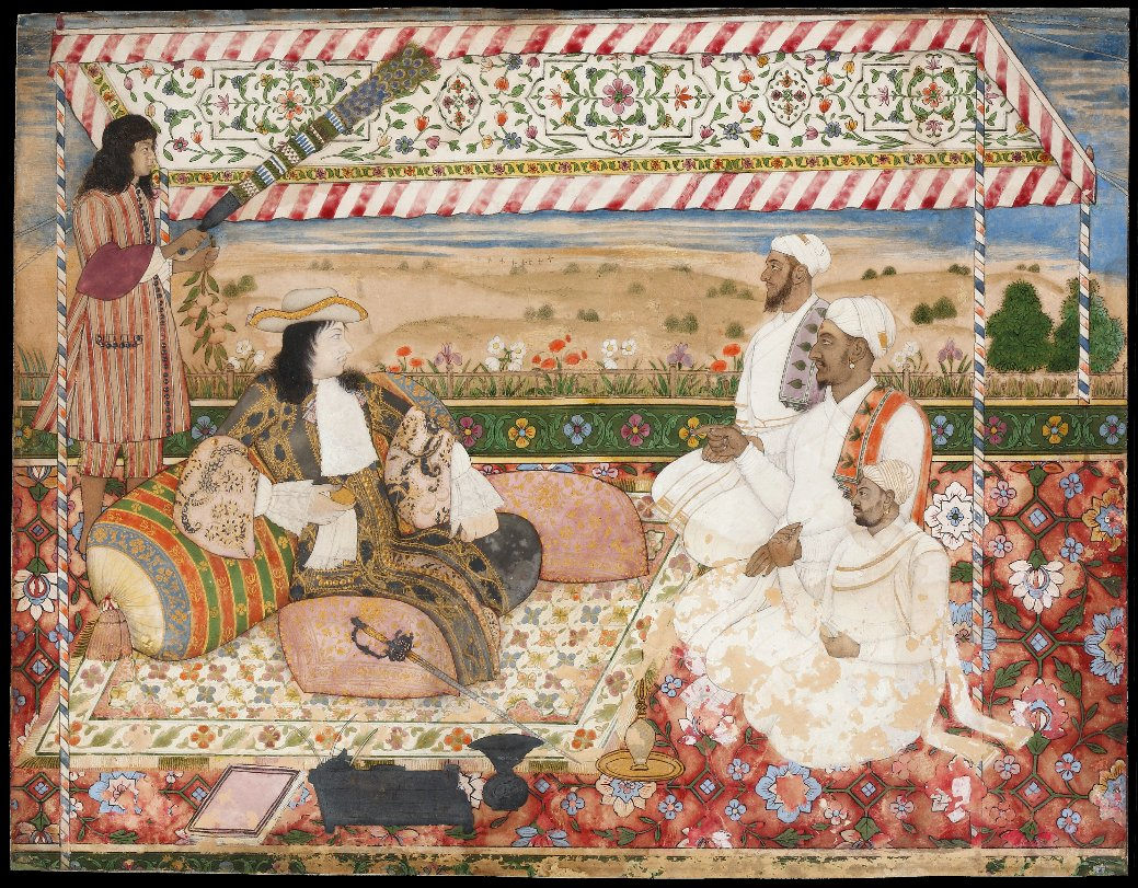 The Darbar of Cornelis van den Bogaerde Golconda, c 1687 #DavidCollection  Bogaerde was in charge of the Dutch trading post in #Hyderabad. Here he is dressed in the newest European fashion but seated in an Indian darbar setting complete with hookah and paandan.  #WhiteMughal