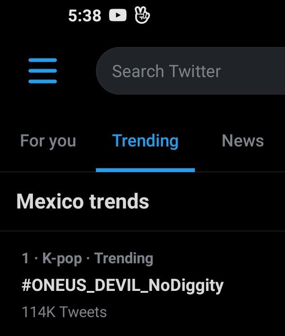 INFO, | #원어스 #ONEUS @official_ONEUS  Después de casi 3 horas #ONEUS_DEVIL_NoDiggity continúa como tendencia No. 1 en México  #원어스_데빌_그누구도_반박불가   ToMoonMX | #BlueColoredGirl 😈