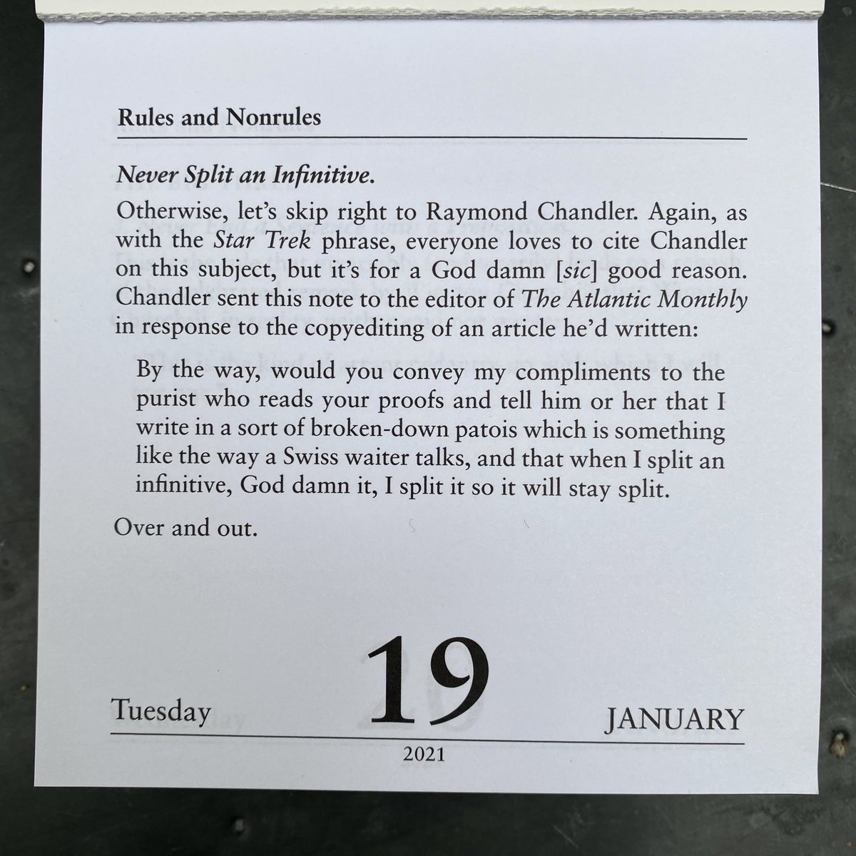 For your delectation: today's entry from my Dreyer's English desk calendar
