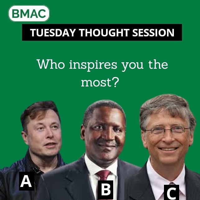 Who inspires you the most and why?   A, B or C?  #tuesdaythoughts #businessowner #sme #tuesdaymotivations