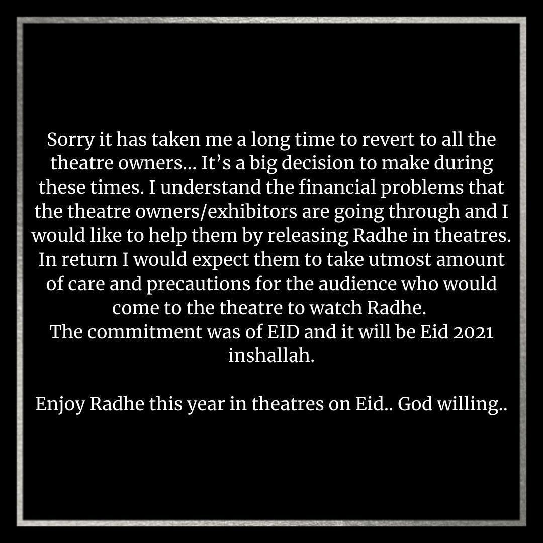 BREAKING NEWS!!!  #Radhe starring @BeingSalmanKhan to release on Eid 2021! Can't wait🤗  #Sidk #SiddharthKannan #Eid2021 #RadheEid2021 #RadheYourMostWantedBhai