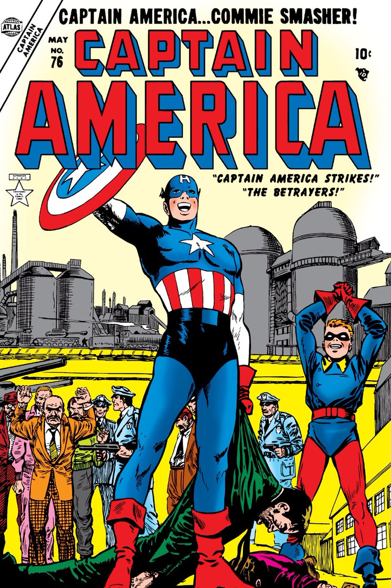 Captain America #76. Cap gets his own title again in the fifties. Boy do they look happy about this. https://t.co/vQQMILVlRR