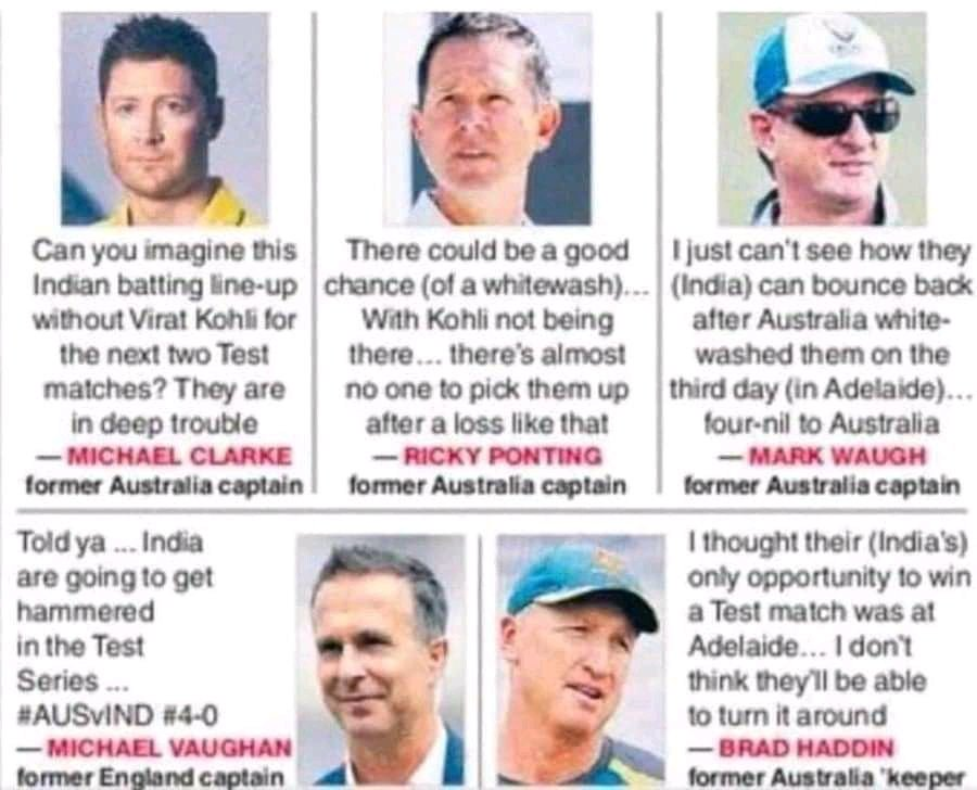 @MClarke23 @MichaelVaughan @RickyPonting #INDvsAUS bastards where are you hiding , now bark whatever you want to