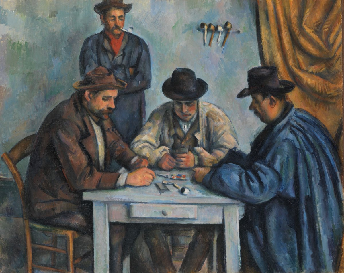 Cards anyone? 🃏  Paul Cézanne—born #OTD in 1839—crafted this composition from figure studies he had made of local farmhands.  Cézanne channeled the quiet authority of this work into a second piece that now hangs at @the_barnes.  Learn more: