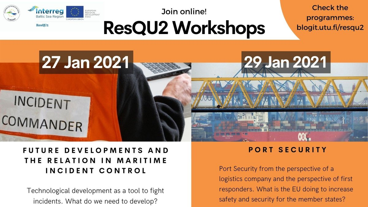 If you are interested in #marinesafety & #portsatefy, join the upcoming workshops by #Interreg @ResQU2Platform.  More info on how #transnational #cooperation helps better prepare and coordinate rescue operations in the #BalticSea and North Sea: https://t.co/KcshXJbwqE