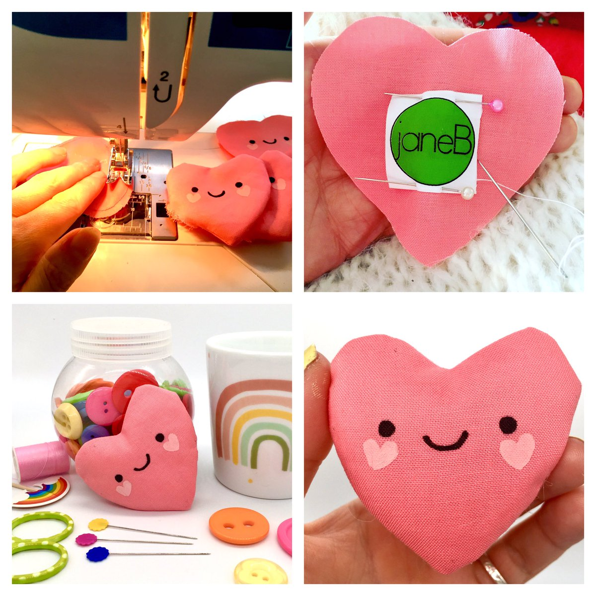Morning #elevenseshour ! I found out that my little smiling fabric hearts have been featured in Etsy's Valentine homepage! I've just finished printing and sewing a new batch! 💖  #tuesdayvibe #ValentinesDay #giftideas #etsyuk #hearts #handmade