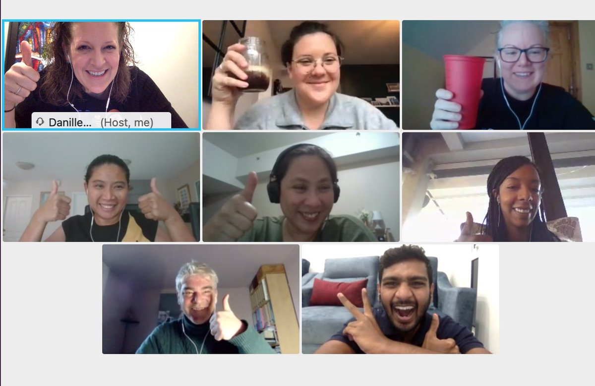 No matter the weather - thumbs up when we're together! 👍 Thankful for a @PTECHNETWORK Program Manager Cafe to kick off the day! ☕️  7 countries, 4 continents, 1 #team... and a lot of students who enjoy #kpop!   #WeArePTECH #coffee #tea #teamworkmakesthedreamwork #tuesdayvibe