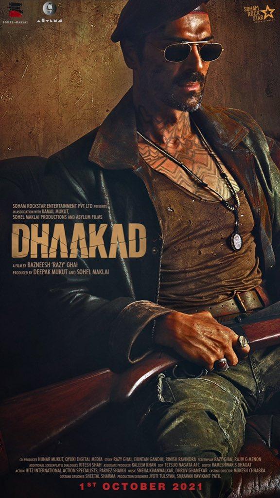 FIRST LOOK of @rampalarjun as Rudraveer in @SohamRockstrEnt's #Dhaakad arriving in cinemas on 1st October 2021! Can't wait🤗  #Sidk @KanganaTeam @DeepakMukut @RazyGhai #sohelmaklai  @AsylumFilms  @divyadutta25 @castingchhabra