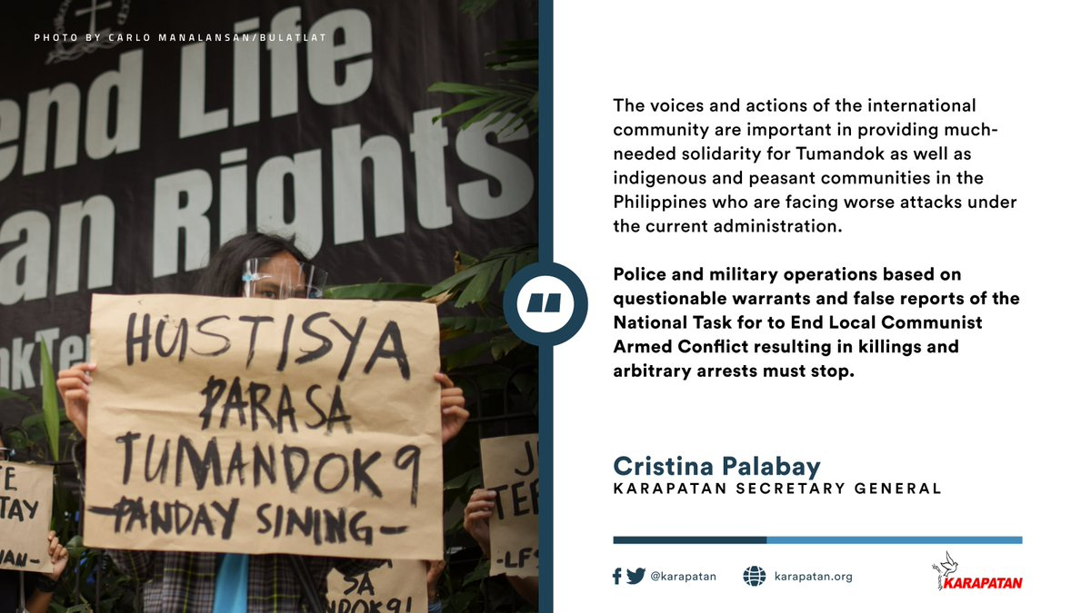 """More than a hundred human rights and indigenous peoples' organizations from the international community strongly called for a stop to """"deadly operations through coordinated police and military actions on indigenous peoples under Duterte's regime."""" READ: karapatan.org/intl+rights+gr…"""