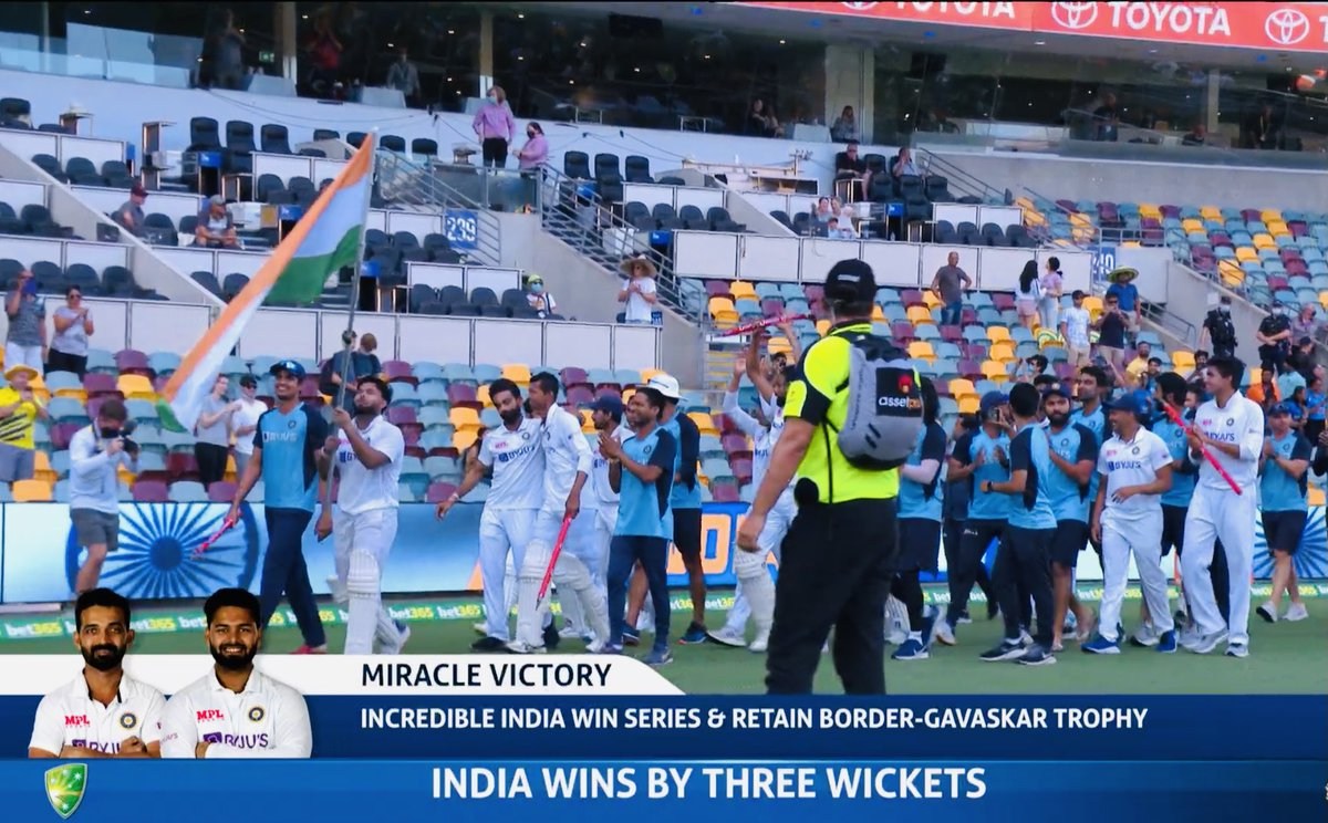 Congratulations #TeamIndia. WHAT. A. VICTORY. Well played #RishabhPant, #Subhmangill #Siraj Proud.  #INDvsAUS
